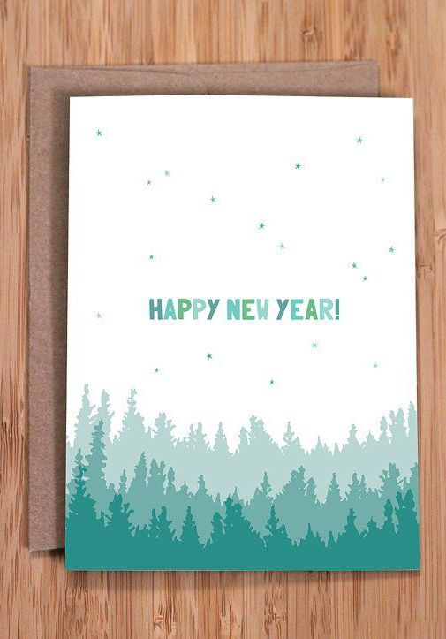 happy new year card / trees and stars