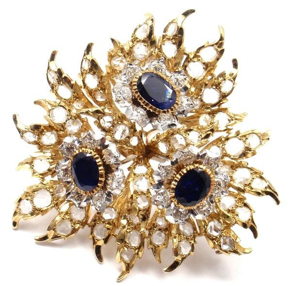 Rare! Authentic Buccellati 18k Yellow Gold 6ct Diamond Sapphire Large Pin Brooch - Fortrove