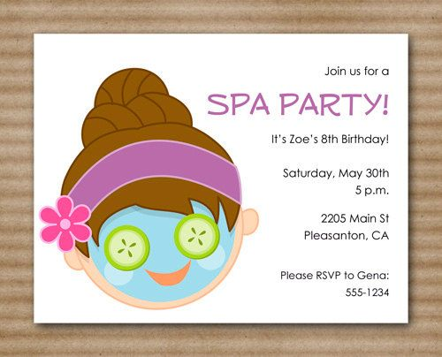 49 best Spa invitations images – Makeover Party Invitations
