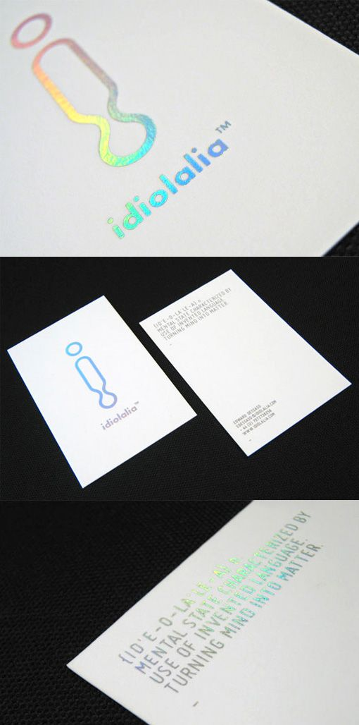 Holographic Foil Stamped Business Card For A Graphic Designer