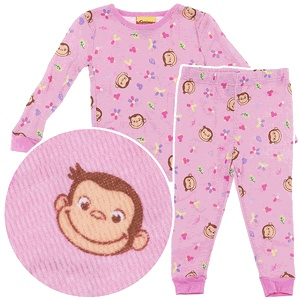 Curious George Pink Thermal Pajamas for Girls - must get!