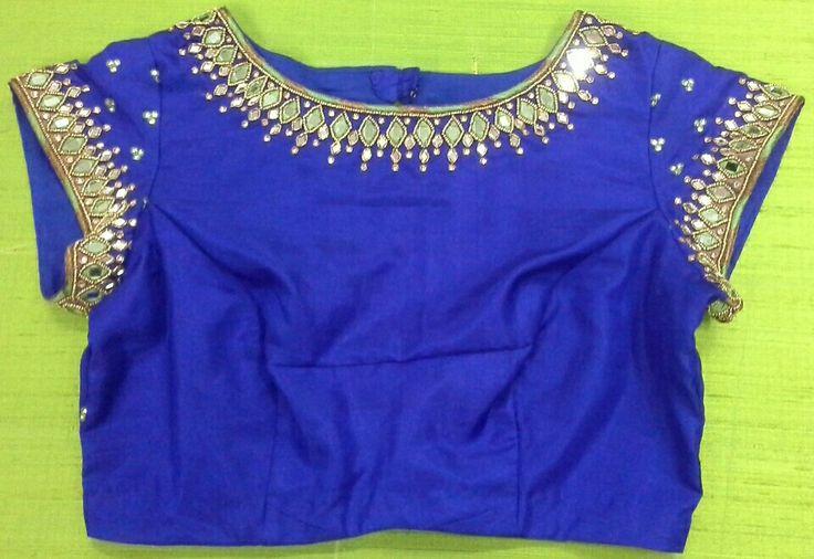 Pattu blouse with mirror work