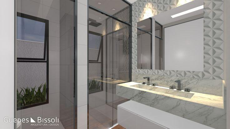 Banheiro moderno com box fume, pia dupla e linda pedra clara, revestimento em 3D deram charme ao ambiente.
