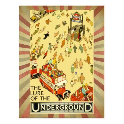 ヴィンテージのロンドン旅行広告イギリスの赤いバスおよび管 ポストカード