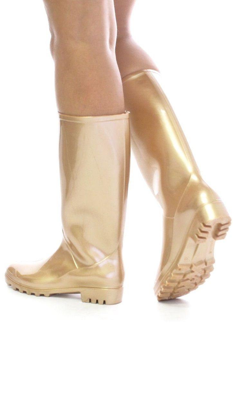 Ladies Gold Wellington Boots