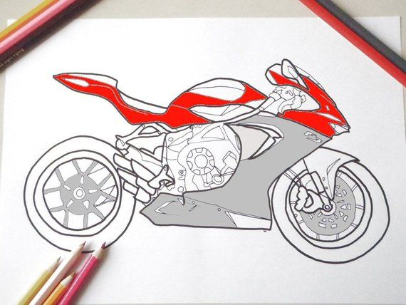 Motorbike Colouring Card Bike Biker Moto Race Motorcycle Man Men