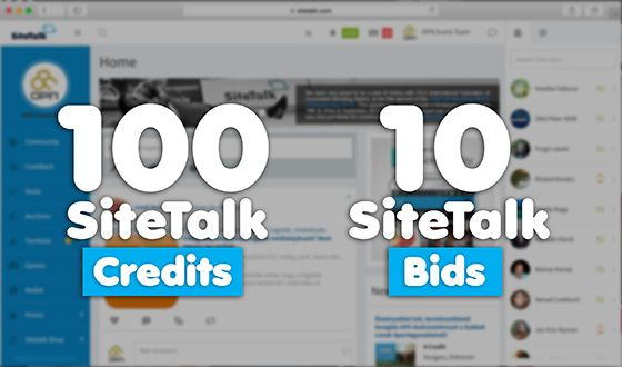 With 100 SiteTalk Credits you can buy 10 SiteTalk Bids and can win a phone or a computer at SiteTalk Auctions !  Sign up now for free : www.SiteTalk.com/Leadership