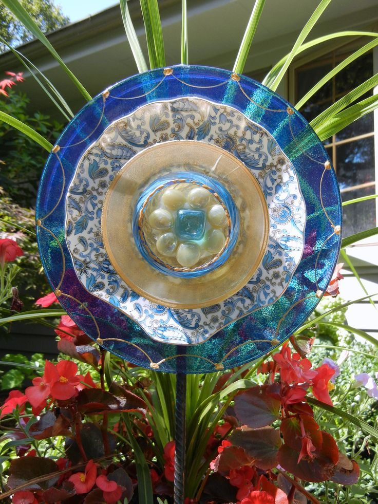 Flowering garden yard art painted recycled glass with for Recycled glass art