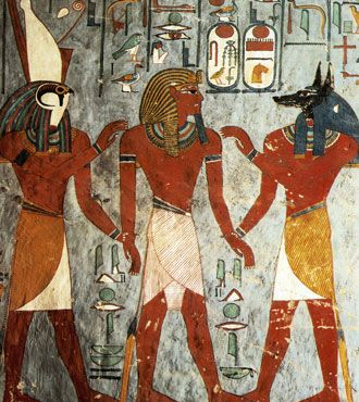 Tomb painting showing Rameses I with Horus and Anubis