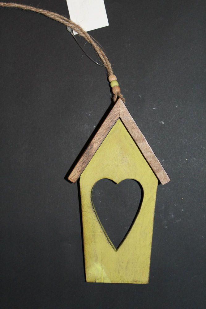 Girlande Vogelhaus Herz Deko Holz Anhänger Natur Fenster Tür Landhausstil Neu