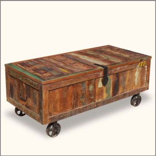 Wood Storage Box Coffee Table Reclaimed Chest Trunk Wrought Iron Wheels Wheels Storage Boxes