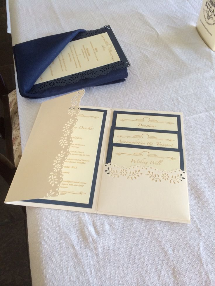 Invitations, menu napkin, navy, ivory