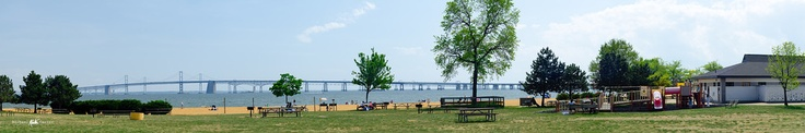 Chesapeake Bay Bridge Panorama, point of view from Sandy Point State Park, April 21 2012