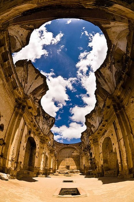 Guatemala Cathedral Ruins -looks like an upside down snowman