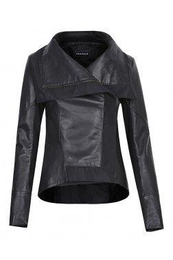 Кожаная куртка с текстильной отделкой