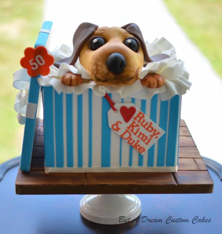 Puppy In A Box Cake - Cake by Elisabeth Palatiello