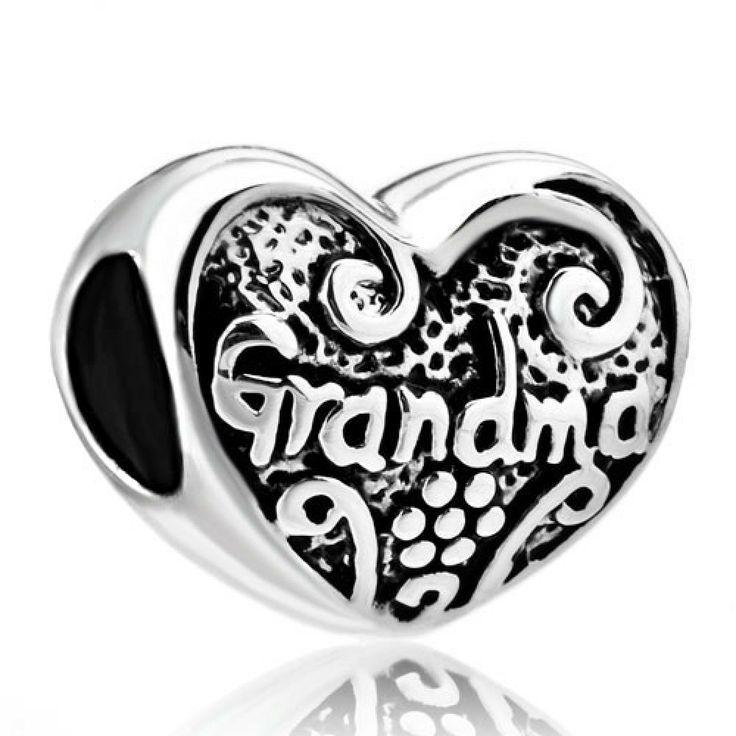 Heart Grandma 925 Sterling Silver Beads Charms Fits Pandora Charms Bracelet Pandora Chamilia Compatible #grandma #pandora #charms #heart #sterlingsilver #chamilia