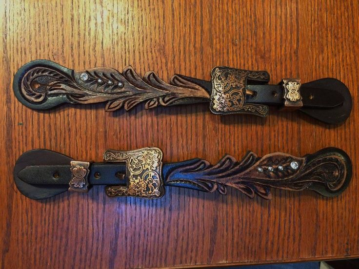 Scalloped Copper Hardware Crystal  Spur Straps