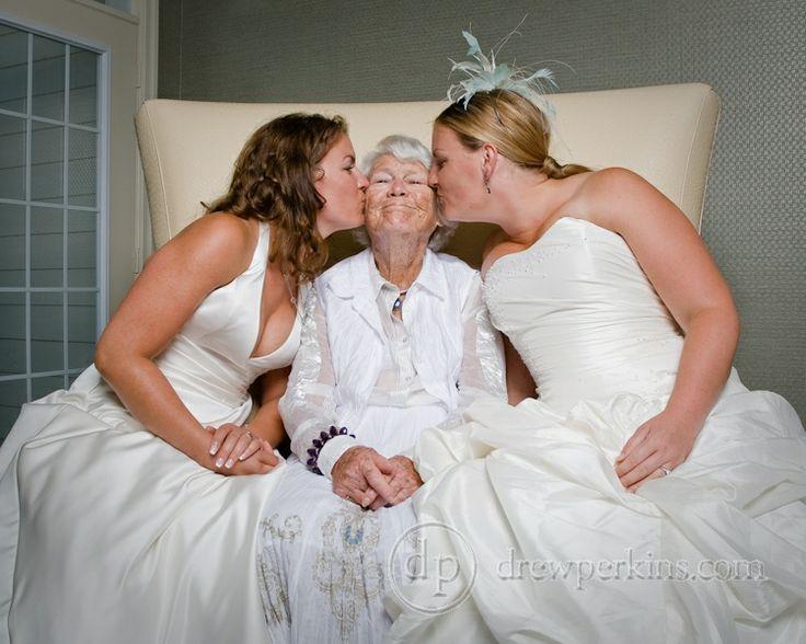 Brides kissing grandma