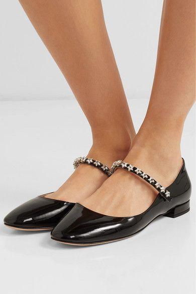 53f3a352ccc4e Miu Miu   Crystal-embellished patent-leather Mary Jane ballet flats    NET-A-PORTER.COM
