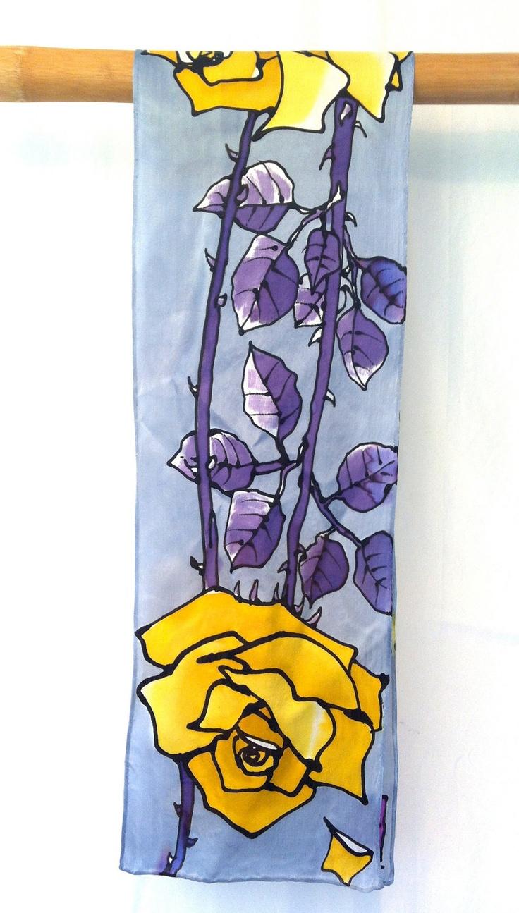 Hand Painted Silk Scarf. Yellow Roses Silk Scarf. Silk Scarves Takuyo. Made in USA. Luxury Silk. Silk Satin. 8x54 in.. $72.00, via Etsy.