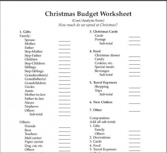 fill in budget worksheet