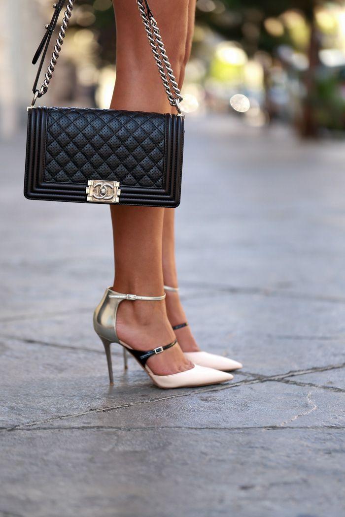 Jimmy Choo color block heels & Chanel 'boy bag'