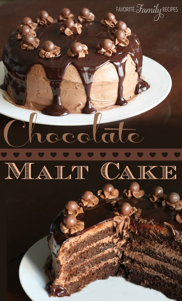Chocolate lovers-this one's for YOU. This chocolate malt cake recipe is A-MAZ-ING. It tastes like a giant Whopper.