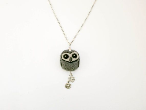 Grey owl necklace