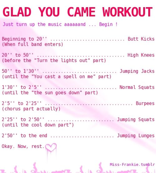 Song Workout!  Glad you came - The Wanted :)    Enjoy!