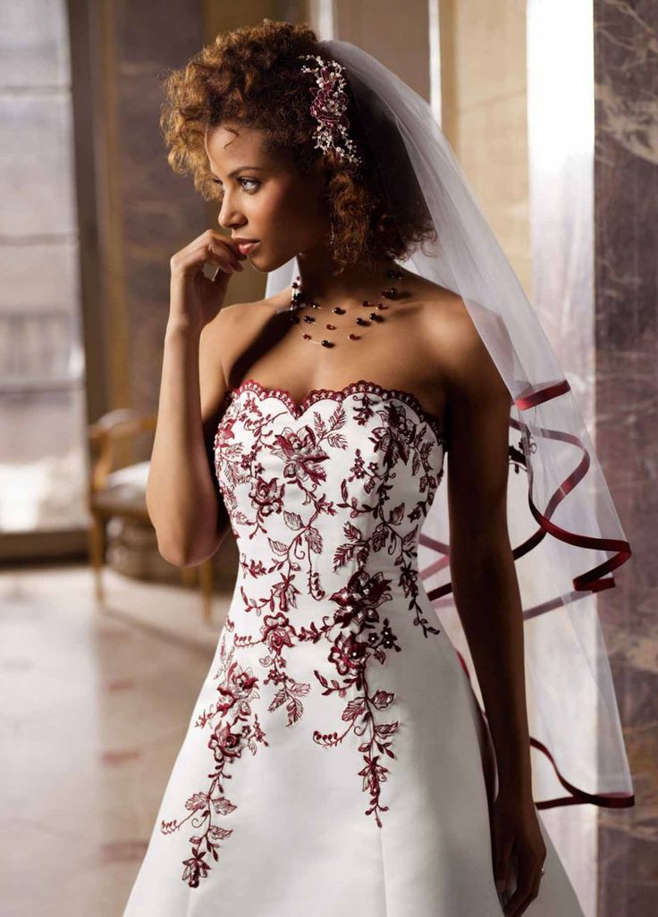 20 Best Wedding Dresses With Red Trim Images On Pinterest