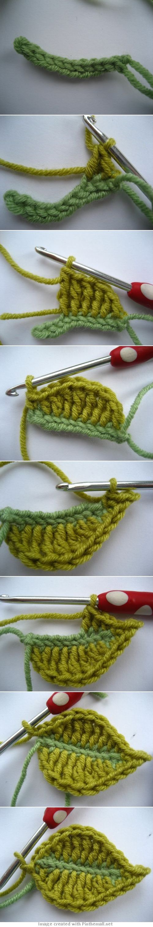 "#Crochet #Tutorial from Attic24.typepad.com ""Clear pictures and text. I especially love the contrasting colored leaf vein."" comment via #KnittingGuru"