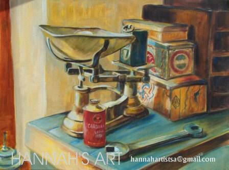 Artist: HANNAH, Scale and tins, oil on canvas, 600 x 450, price on request.