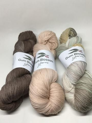 Gum Blossom Yarns blog - String Bark, Avocado and Avocado 3 mordants