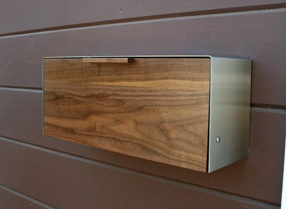 These would be the coolest shoe storage bins. Modern Mailbox,  Walnut and Stainless Steel Mailbox