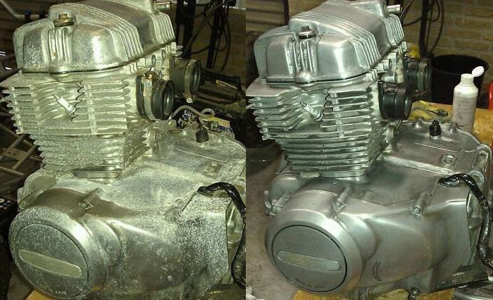 Résultat de l'innosoft, le produit peut même éliminer les tâches de corrosion blanches qui apparaissent parfois sur l'aluminium. Il n'altère pas la couche d'oxyde naturelle du métal : Innosoft est agressif contre la rouille mais inoffensif à l'égard du métal.
