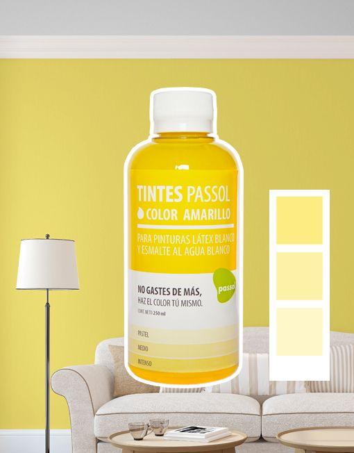 Tinte Passol Amarillo para mezclar con pinturas LÁTEX y ESMALTE al agua de Passol.