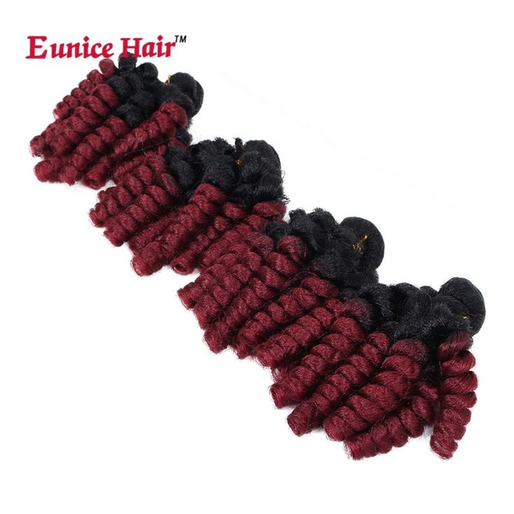 4 Bundles One Pack 18 inch Ombre burgundy/gray Fun…