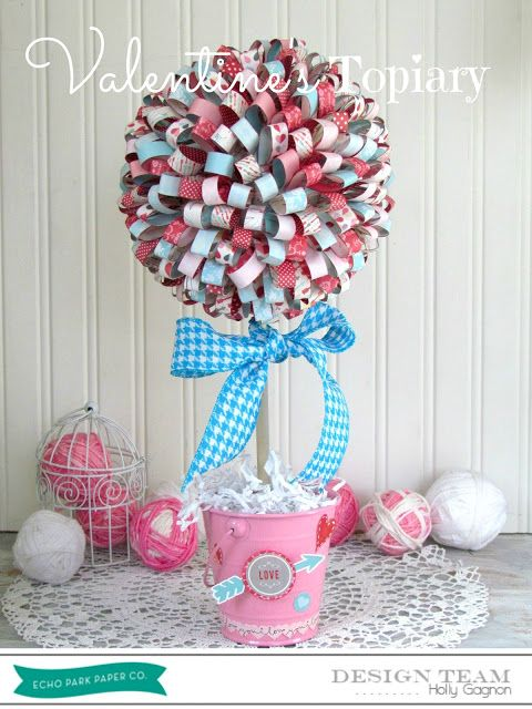 Valentines Paper Ribbon Topiary #yearofcelebrationsPaper Ribbons, Crafts Ideas, Crafts Projects, Parks Valentine, Ribbons Topiaries, Paper Crafts, Holiday Decor, Echo Parks, Valentine Paper