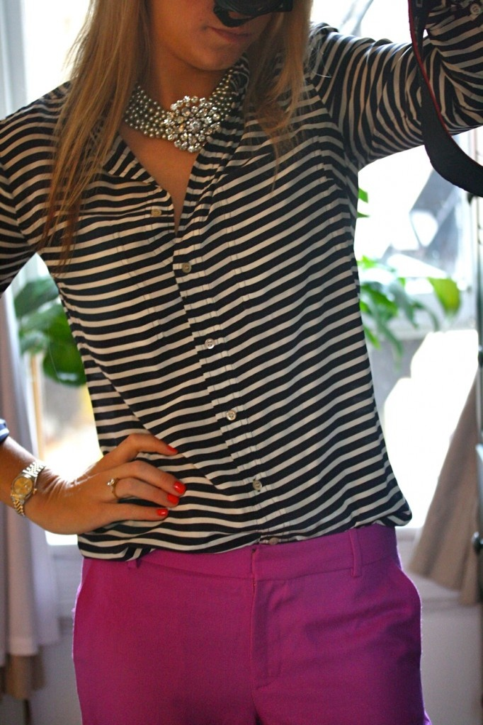 purple pants and stripes