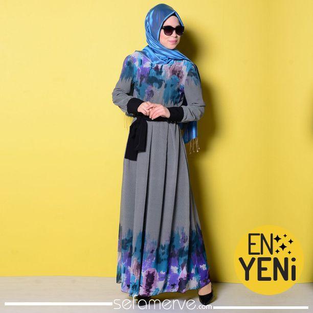 Şifon Desenli Elbise 3284-04 Lacivert  Yeni Ürün !! Şifon Desenli Elbise 3284-04 Lacivert 79,90 TL.. #sefamerve #tesetturgiyim #tesettur #hijab #tesettür #dress