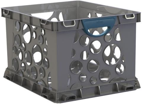 The new Storex storage crate  has received upgrades which include a solid bottom, easy grip handles, and improved drop test performance. It holds letter or legal hanging files and folders and can be safely stacked up to six crates high.Built in handles allow you to carry up to 50 lbs. comfortably.Holds letter or legal sized hanging files and folders Fits up to 3500 Sheets of letter paper or 3000 legal papers Item Dimensions: 17.25 L x 14.25 W x 10.5 H 1.87333333333333 lbs.