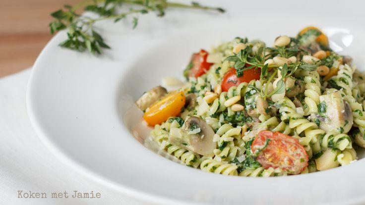 spinazie-pasta-champignons-tomaat