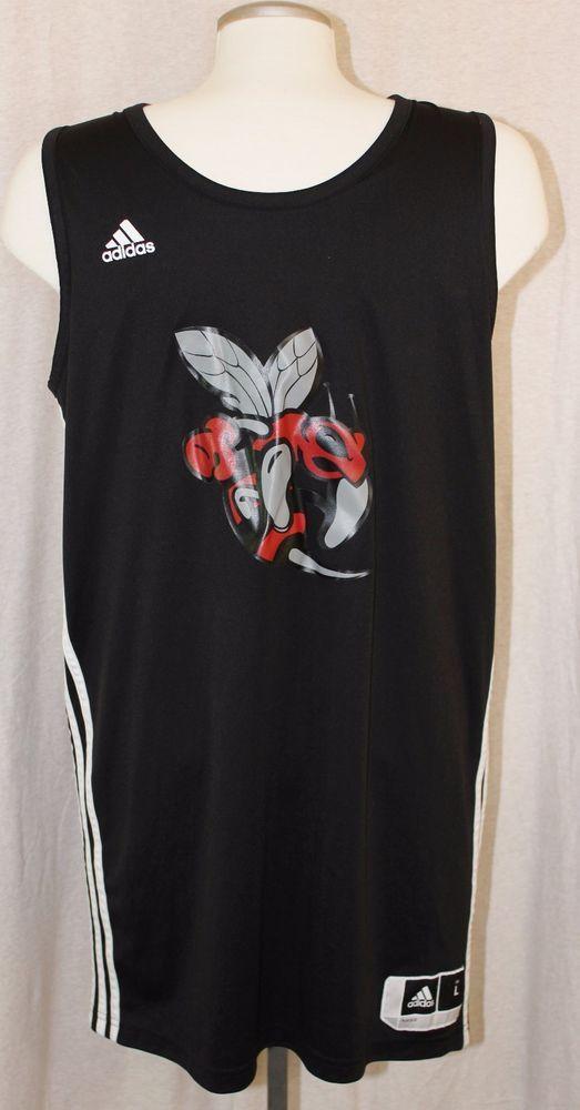 Adidas Mens Size Large Basketball Jersey Black Hornet 3 #adidas #Jerseys