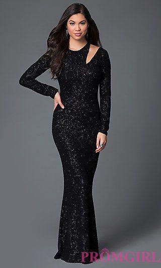 Black Long Sleeve Glitter Dress  at PromGirl.com