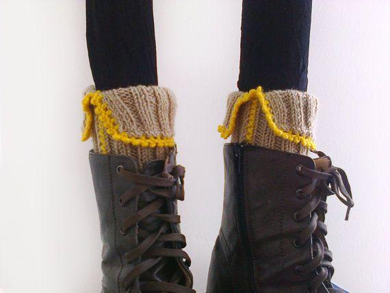 Knit boot cuffs Boho boot cuffs Knit leg warmer Knit by GuruMIme