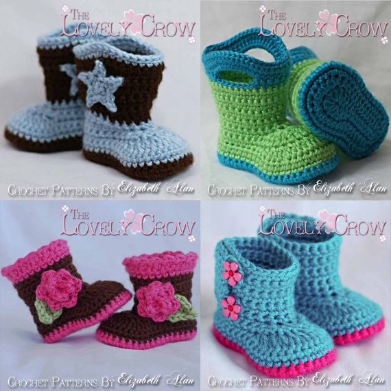 Baby Booties Crochet Patterns  All 4 Patterns, one great deal. digital