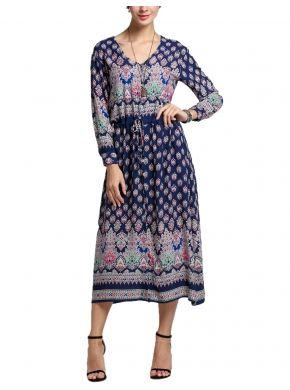 Mavi Bohem Stili V Yakalı Uzun Kollu Bel Baskı Maxi Gömlek Casual Elbiseleri