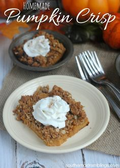 This homemade pumpkin crisp is a wonderful fall recipe for your holiday dinners! Click through for recipe!