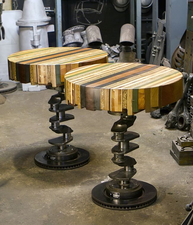 These table tops are made by stacking, joining and reshaping layers of wooden offcuts. The outside is sanded smooth and oiled with a plant based material,